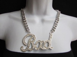 Other Women Silver Chain Fashion Necklace Bad Big Pendant Shiny Rhinestones