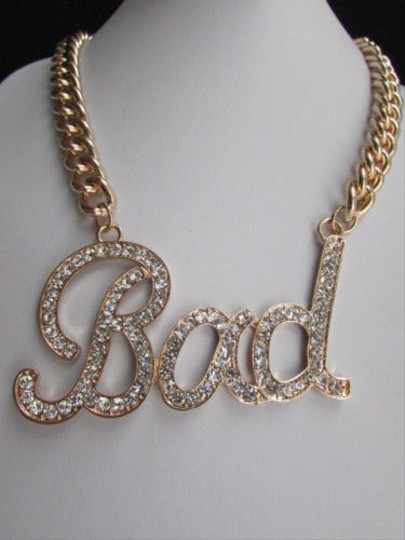 Other Women Gold Necklace Bad Big Pendant Silver Rhinestones