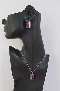 Other Women Silver Metal Usa American Flag Pendant Fashion Necklace Earrings Set