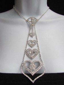 Other Women Silver Metal Neck Tie Rhinestones Multi Hearts