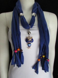 Women Blue Fashion Scarf Spikes Long Necklace Multicolors Wood Beads Owl Pendant