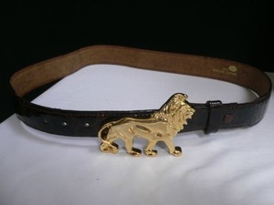 Women Hip Waist Brown Leather Fashion Belt Gold Metal Lion Buckle 29-33