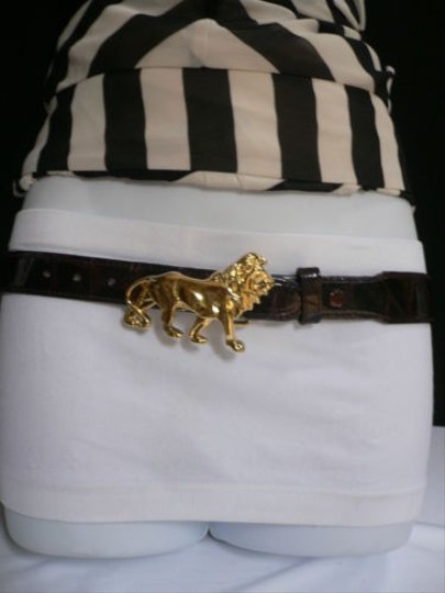 Other Women Hip Waist Brown Leather Fashion Belt Gold Metal Lion Buckle