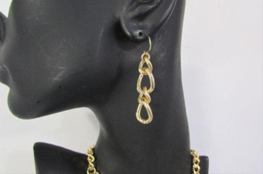 Other Women Gold Three Links Strands Trendy Fashion Necklace Earrings