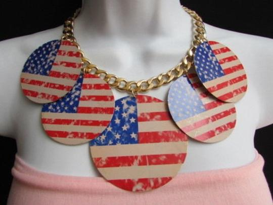 Preload https://item2.tradesy.com/images/women-chunky-gold-metal-necklace-united-states-american-flags-pendants-1931096-0-0.jpg?width=440&height=440