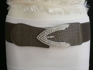 Other Women Hip Waist Elastic Gray Western Fashion Belt Rhinestones Arrow