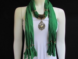 Women Green Fashion Soft Scarf Long Necklace Big Silver Center Bead Pendant