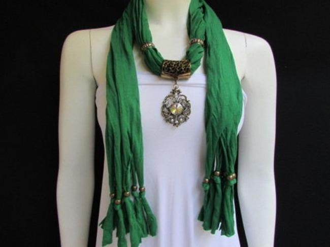 Alwaystyle4you Green Women Soft Big Silver Center Bead Pendant Scarf/Wrap Alwaystyle4you Green Women Soft Big Silver Center Bead Pendant Scarf/Wrap Image 1