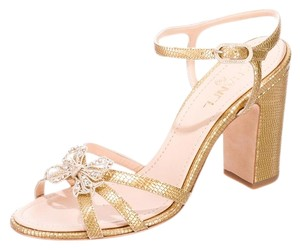 Chanel Embellished Hardware Gold Sandals