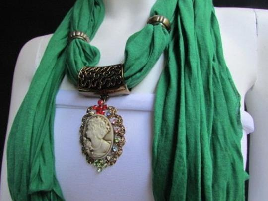 Other Women Fashion Green Scarf Long Necklace Multicolors Rhinestones Retro Pendant
