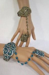 Other Women Fashion Cuff Bracelet Hand Chain Rhinestones Ring Gold Silver Blue