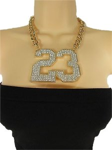 Women Gold Metal Chain 23 Hip Hop Fashion Necklace Number Pendant Rhinestone
