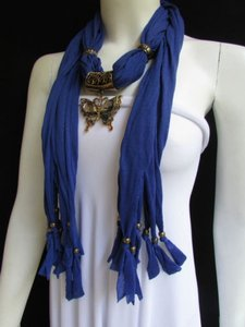 Women Blue Fashion Soft Scarf Long Necklace Big Pewter Beads Butterfly Pendant