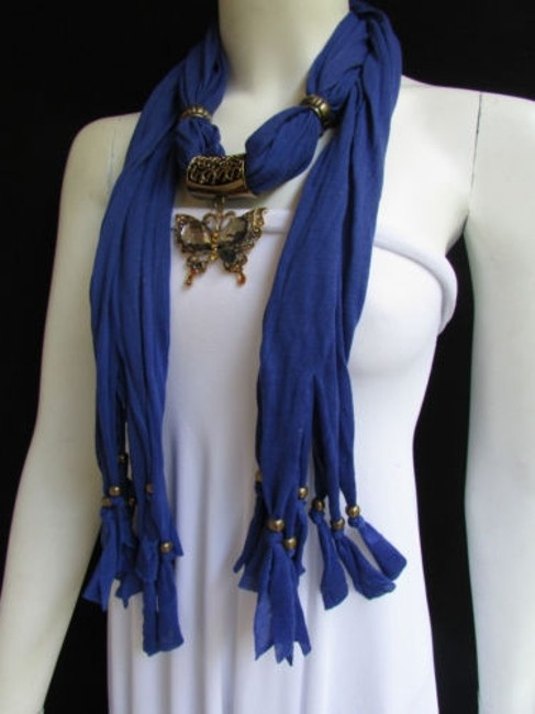 Women Blue Fashion Soft Scarf Long Necklace Big Pewter Beads Butterfly Pendant Women Blue Fashion Soft Scarf Long Necklace Big Pewter Beads Butterfly Pendant Image 1