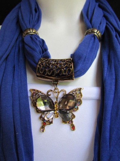 Other Women Blue Fashion Soft Scarf Long Necklace Big Pewter Beads Butterfly Pendant