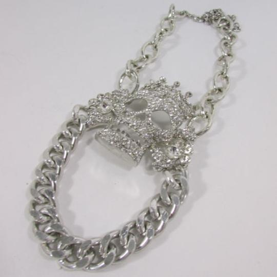 Other Women Necklace Fashion Big Metal Center King Skull Chunky Chains Gold Silver
