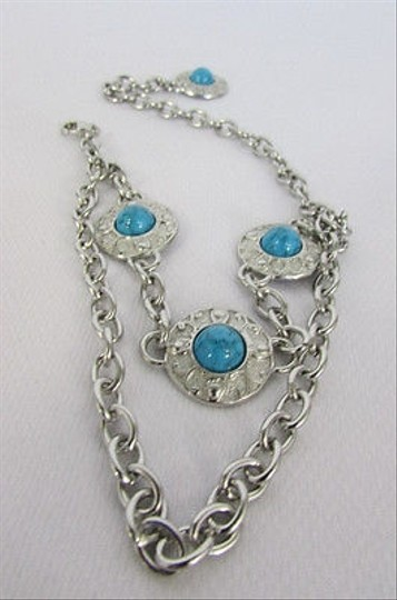 Other Western Women Silver Metal Boot Chain One Strap Turqoise Blue Beads Anklet