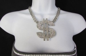 Women Fashion Necklace Money Dollar Sign Big Silver Gold Rhinestones
