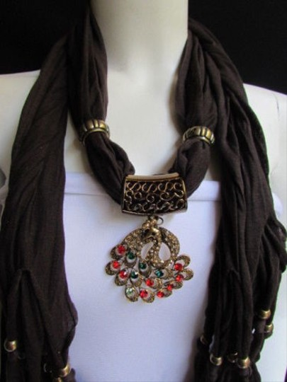 Other Women D Brown Fashion Soft Scarf Long Necklace Multicolored Gold Peacock Pendant