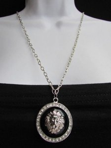 Women Long Necklace Silver Thin Chain Lions Face Head Lion Pendant Rhinestones