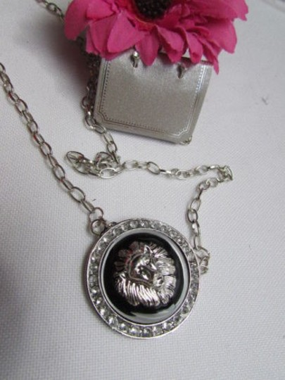 Other Women Necklace Silver Thin Chain Lions Face Head Lion charm