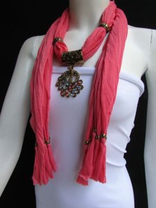 Women Pink Fashion Soft Scarf Long Necklace Multicolored Gold Peacock Pendant