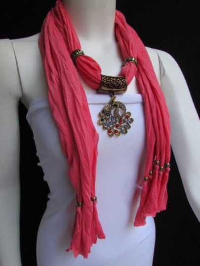Other Women Pink Fashion Soft Scarf Long Necklace Multicolored Gold Peacock Pendant