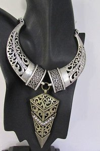 Women Antique Silver Horns Gold Arrow Tribal Fashion Necklace Earrings Set