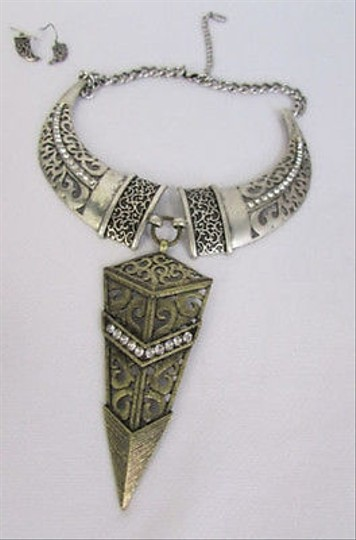 Other Women Antique Silver Horns Gold Arrow Tribal Fashion Necklace Earrings Set
