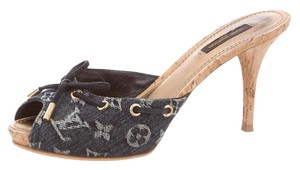 Louis Vuitton Monogram Denim Lv Peep Toe Blue, Beige Sandals