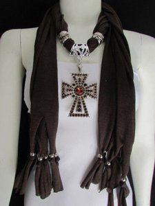 Other Women Soft Fabric Brown Scarf Necklace Western Rhinestones Big Cross Pendant