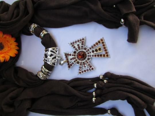 Other Women Soft Scarf Necklace Western Rhinestones Big Cross Pendant
