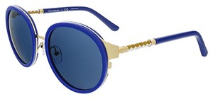 Tory Burch Tory Burch Gold/Cobalt Round Sunglasses