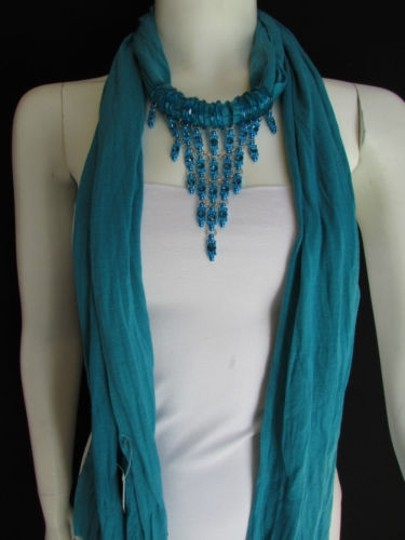 Other Women Blue Fashion Soft Scarf Long Necklace Triangle Big Rhinestones Pendant