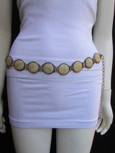Other Women Hip Waist Silver Metal Fashion Belt Ivory Circles Shaped