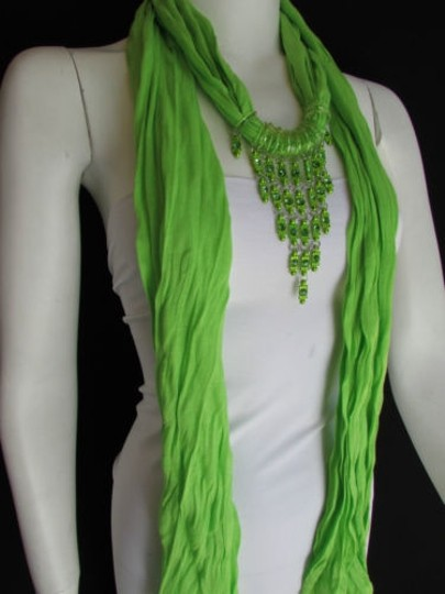 Other Women Lime Green Fashion Soft Scarf Long Necklace Triangle Rhinestones Pendant