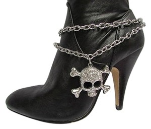 Women Silver Boot Chains 1 Strap Big Skull Rhinestones Hearts Western Shoe Charm