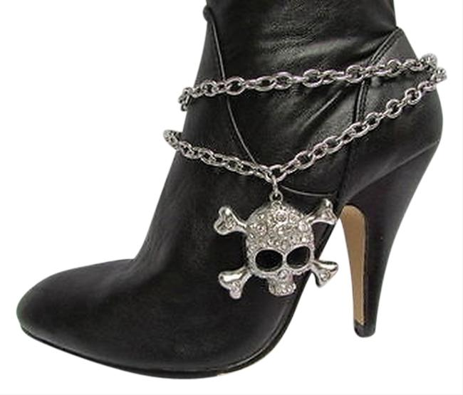 Women Silver Boot Chains 1 Strap Big Skull Rhinestones Hearts Western Shoe Charm Women Silver Boot Chains 1 Strap Big Skull Rhinestones Hearts Western Shoe Charm Image 1