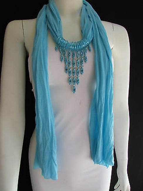 Alwaystyle4you Light Blue Women Long Necklace Triangle Shiny Rhinestones Scarf/Wrap Alwaystyle4you Light Blue Women Long Necklace Triangle Shiny Rhinestones Scarf/Wrap Image 1