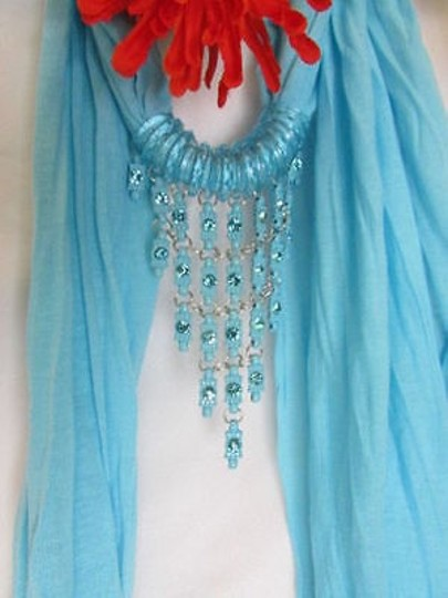 Other Women Blue Scarf Long Necklace Triangle Shiny Rhinestones