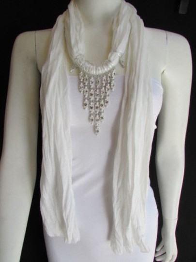 Preload https://item4.tradesy.com/images/women-white-fashion-soft-scarf-long-necklace-triangle-big-rhinestones-pendant-1931193-0-0.jpg?width=440&height=440