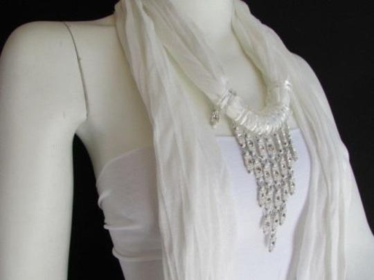 Other Women White Fashion Soft Scarf Long Necklace Triangle Big Rhinestones Pendant
