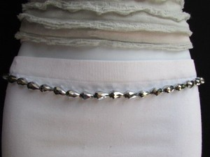 Other Women High Waist Hip Metal Chains Silver Drop Beads Fashion Belt 30-44