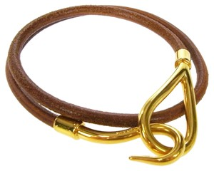 Hermès HERMES Logos Bracelet Leather Gold-tone Brown Accessory Necklace
