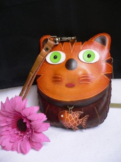 Preload https://item5.tradesy.com/images/brown-women-cat-purse-coin-genuine-leather-fish-key-chain-two-cosmetic-bag-1931209-0-0.jpg?width=440&height=440