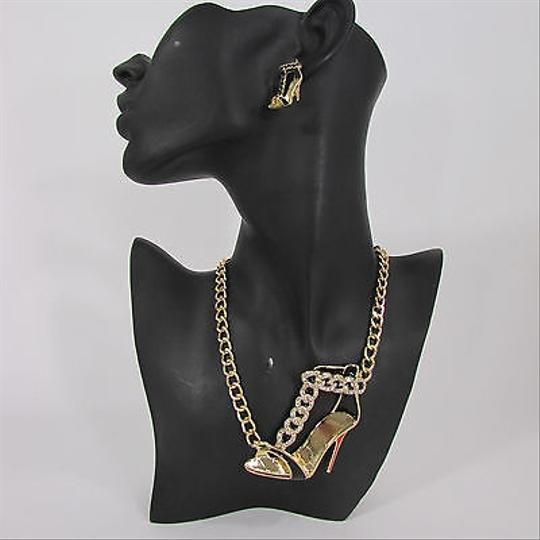 Other Women Gold Chains Necklace Metal High Heels Shoes Earrings Set
