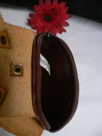 Other Women Coin Bag Orange Brown Rabbit Key Chain Genuine Leather