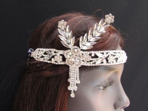 Other Women Silver Metal Head Chain Jewelry Side Flower Leaves