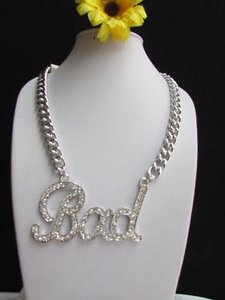 Other Women Silver Metal Chains Fashion Necklace Bad Phrase Pendant Ubran Hip Hop