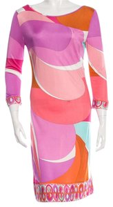 Emilio Pucci Multicolor Long Sleeve Midi Dress
